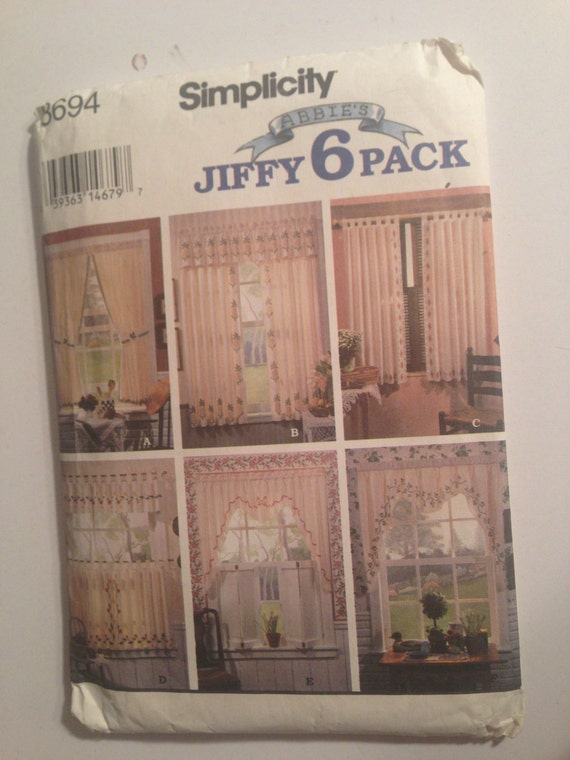 Simplicity Crafts 8694 Sewing Pattern 90s Uncut Stenciled Curtains