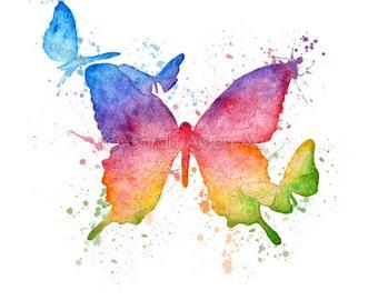 Rainbow Butterfly Print Watercolor Splash Painting - Butterflies Art - Inspirational Girl Wall Decor - Sarah Alden