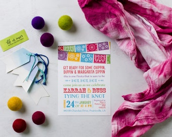 FIESTA couples shower invitation - wedding shower invite