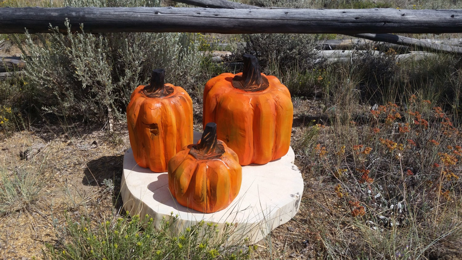 Wood pumpkin fall decor chainsaw carving set of three