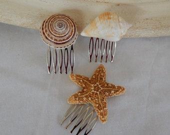 Starfish Seashell Wedding Hair Comb -Set of 3-Bridal Hair Accessories