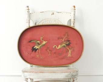 Antique Asian Large Gilt Hand Painted Red Lacquer Tray - 1900's