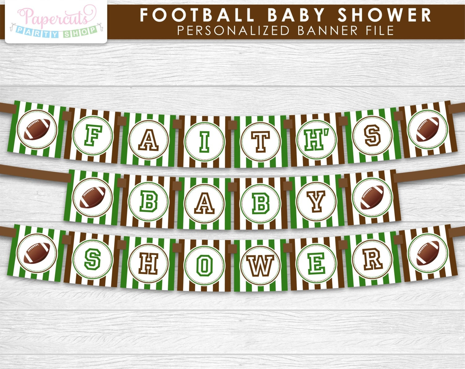 football theme baby shower party banner green brown
