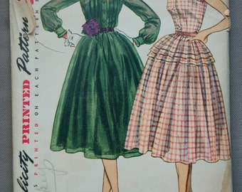 "1950's Simplicity Afternoon Tea Dress Pattern - Bust 32"" - no. 3848"