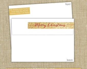 Wrap around return address labels. gold return address label. Merry Christmas