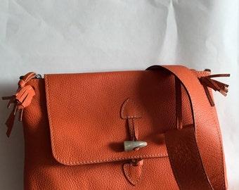 Hermes Oange Pebble Leather Messenger Bag, Charles et Charlus, France