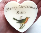 Personalised 'Merry Christmas' Heart Message Token Candle