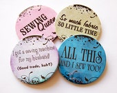 Drink Coasters, Gift for Sewer, Coasters, Funny coasters, Funny Sewing Sayings, Sewing Queen, humor, So much fabric so little time (5216)