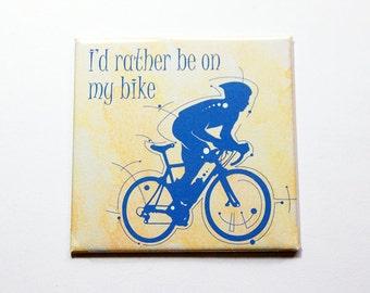 Bike magnet, I'd rather be on my bike magnet, Magnet, Fridge magnet, Stocking stuffer, biking, sports magnet, yellow, blue (5804d)
