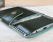 iPhone6/ iPhone6s/ Mini leaf green-white genuine cow leather phone wallet