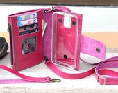 Samsung Galaxy S5/ Super-Cool pink / genuine leather wallet with case/ zip and mini zip inside/ ID window/ Shoulder strap/ wristlet strap/