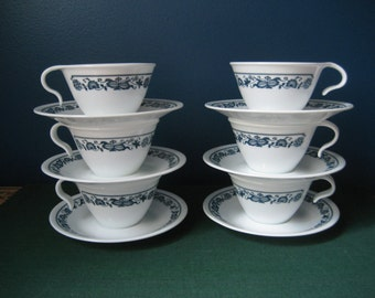 Corelle Old Town Blue Onion Cups and Saucers - Set of 6 -  Hook Handle Stacking Cups - American Made in USA