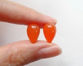 Carnelian Upside Down Half Drilled Acorn Inverted Tear Drops 8x12 mm One Pair K5243 G6024