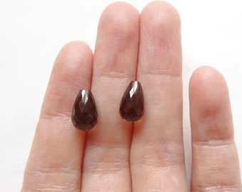 Smoky Quartz Half Top drilled Faceted Cute Tiny Teardrops 6x10 mm One Pair for earrings L4514