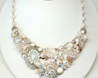 Blush Statement Necklace- Pink Bridal Necklace- Blush Bridal Bib- Soft Pink Necklace- Blush Necklace- Light Pink Bridal Bib-Wedding Necklace