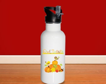 Fall Water Bottle - Fall Bird Pumpkins Give Thanks, Personalized Stainless Steel Bottle BPA Free Back to School