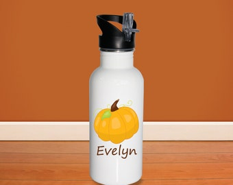 Pumpkin Kids Water Bottle - Pumpkin with Name, Child Personalized Stainless Steel Bottle BPA Free Back to School