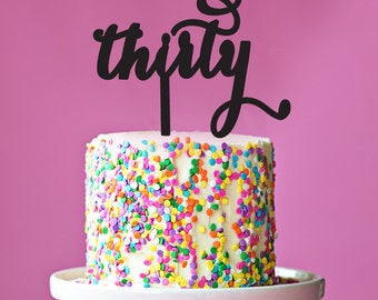 thirty - Black or Gold Glitter Acrylic Script Number Birthday Cake Topper - Ready to Ship