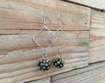 handblown lampwork black and yellow glass earrings