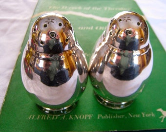Art Deco Dome-Top Glass-Lined Silver-Plated Salt and Pepper