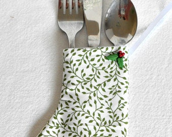 Gift card or money holder, mini stocking ornament, silverware wrap, special gift bag, office  hostess gift, advent, green holly, jewelry box
