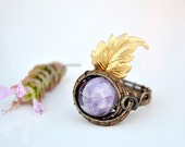 Amethyst ring/Wire wrapped ring with brass leaf/Adjustable/Crown Amethyst Chakra Ring/Purple ring/Mother's day gift/Gift for her/Chakra ring