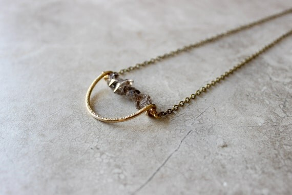 Half Moon Herkimer Necklace, Herkimer Diamond Necklace, Brass Crescent Necklace