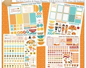 Thanksgiving November Kit Printable Planner Stickers 4 Sheets OVER 300 Stickers! Planner Orange, Teal. Yellow Fall Colors