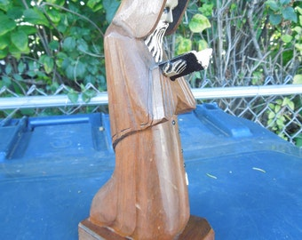 Praying Monk Hand Carved Wood Statue Standing with Open Bible