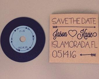 Save the Date CD Sleeve with Vinyl Record Styled CD | Kraft CD Sleeve | Favor | Vinyl cd Custom Label | Sample