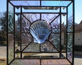 Irridescent Stained Glass Panel with Irridescent Sea Shell