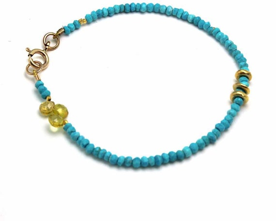 Turquoise Beaded Bracelet. Simple Stacking Bracelet with Citrine Briolettes. Gold or Silver. B-1912