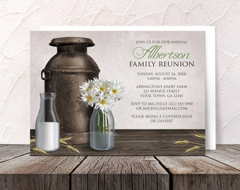 Rustic Dairy Farm Family Reunion Invitations - Country Antique Milk Can Milk Bottles Daisies Hay - Printed Invitations