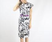 80s Wiggle Dress, Cross back dress Pencil skirt, Black White cotton dress Pilgram collar, Medium