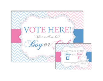 Gender Reveal Voting Cards-Baby Announcement Shower -Boy or Girl Voting Cards-INSTANT DOWNLOAD