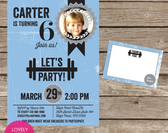 DIY Fitness Party, Exercise Party, Workout Party, Gym Party Invitation Kit - Invite AND Thank You Card included