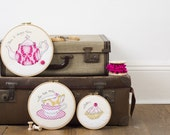 Time for tea embroidery hoops - Set of three embroidery hoop art - Teapot art - Kitchen art - Cake art - Gift for tea drinkers - Teatime  -