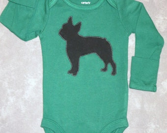 Pick your DOG BREED!  Custom baby bodysuit with dog breed of your choice - gender neutral GREEN