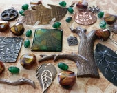 Autumn, Leaves, Trees, Foliage, Owl, Mixed Lot - Vintaj Natural Brass, Artisan Copper, Arte Metal, Handmade Pendants, Glass Bead Stash-MX034