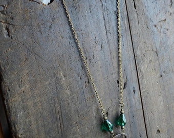 Authentic Antique Beautiful Key Necklace with Green Crystal Bead Accents Long Chain Antiqued Gold Toned Chain
