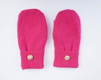 Hot Pink Felted Wool Mittens
