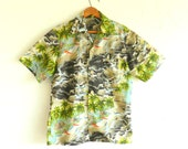 70's HAWAIIAN SHIRT - Retro Tiki Wear / One-of-a-Kind / Luau / Tropical / Beach