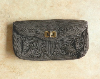 40's CORDE CLUTCH - Chocolate Brown / Art Deco /Wallet / Bamboo Shape Clasp / Elegant / Classic
