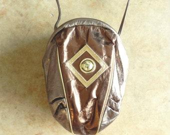 80's BRONZE DECO PURSE - Leather / Geometric / Art Deco / Metallic