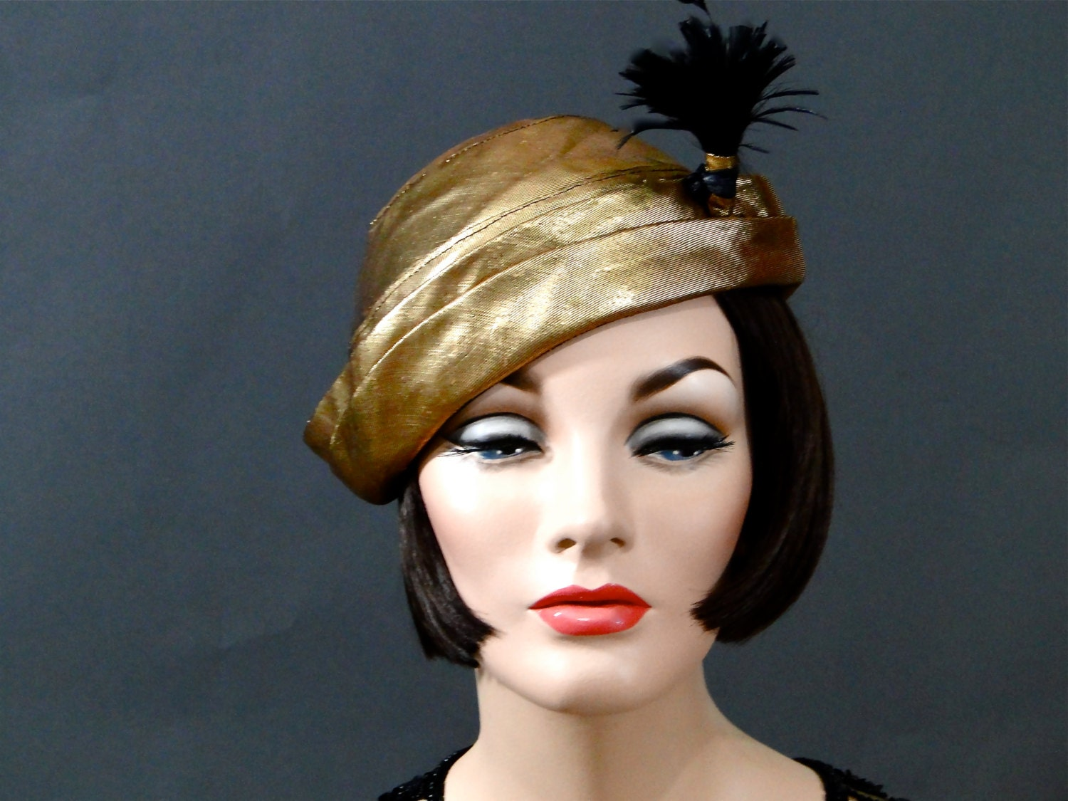 1930s womens hat cloche gold costume hats by sueellensflair