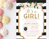 Black Pink and Gold Baby Shower Invitation - Gold Glitter invitation - It's A Girl Baby Shower - Floral Baby Shower Invitation Printable
