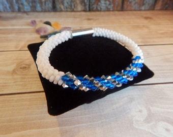 Sparkling Blue, Silver, and White Beaded Bracelet