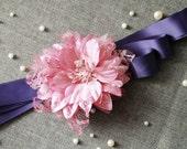 Bridal Lace Sash Belt - Wedding Dress Sashes Belts - Violet Cheery Rose Fuchsia Flower Eggplant Purple Double Faced Ribbon