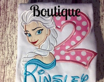 Elsa Applique Shirt, Birthday Shirt, Personalized Elsa Applique/Embroidered Shirt