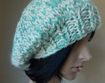 Mint Green Beret , green and white tam hand knit from wool and alpaca blend yarns, mint green beret, street style green hat
